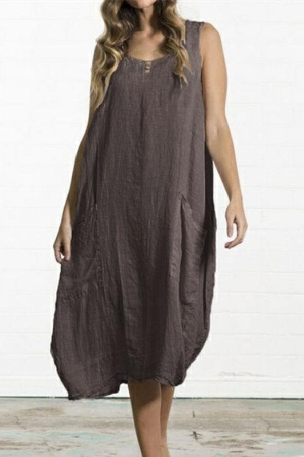 Linen Side Pockets Plus Size Loose Dress