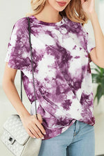 Gradient Print Knot Front Casual T-shirt
