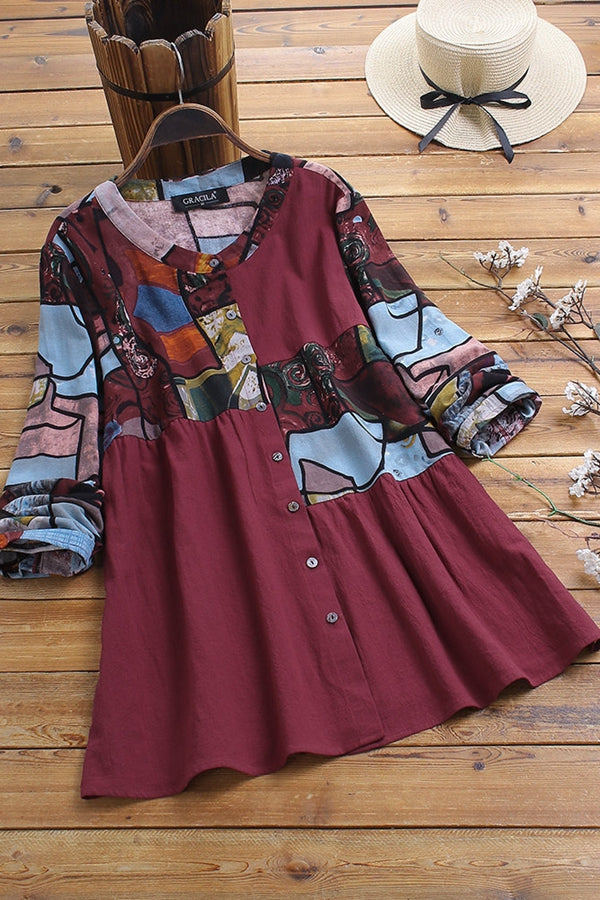 Casual Round Print Long Sleeves Shirt