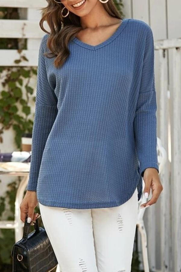 V Neck Shift Solid Long Sleeves T-shirts