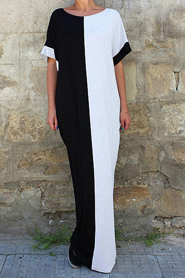 Casual Colorblock Round Neck Maxi Dress