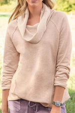 Solid Pile Neck Paneled Casual Long Sleeves Blouse