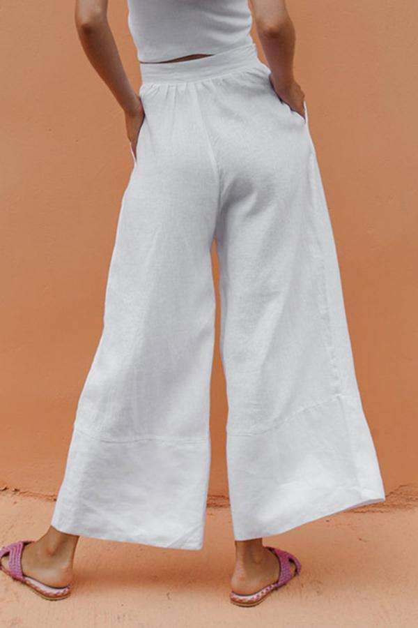 Solid Linen High Waist Pants