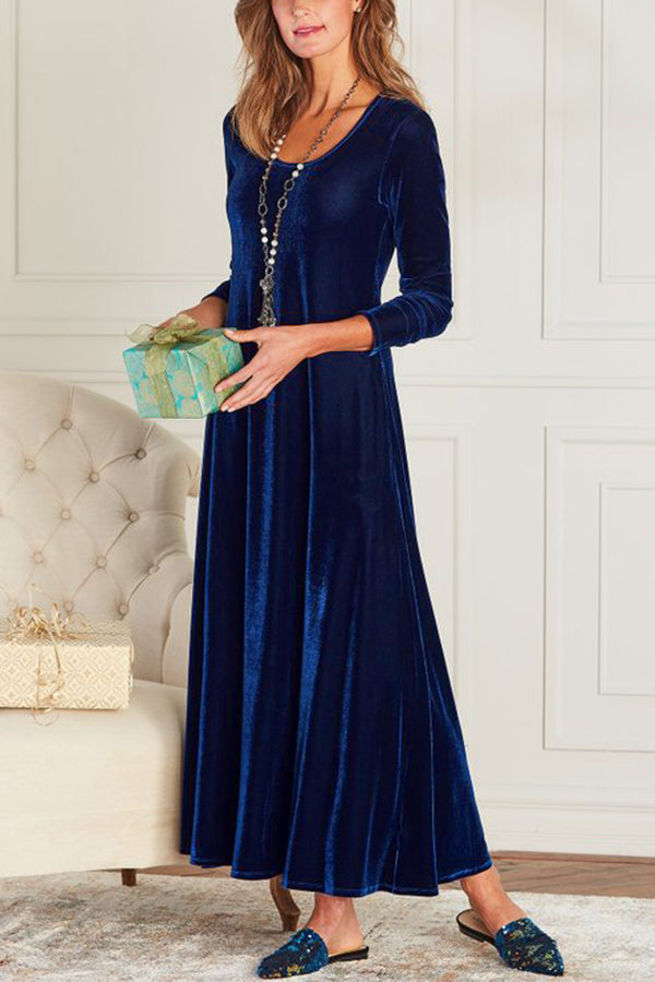 Solid Casual Round Long Sleeves Maxi Dress
