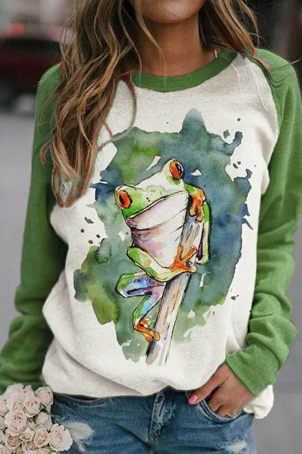 Green Gradient Frog Print Raglan Sleeves Color-block Lively T-shirt