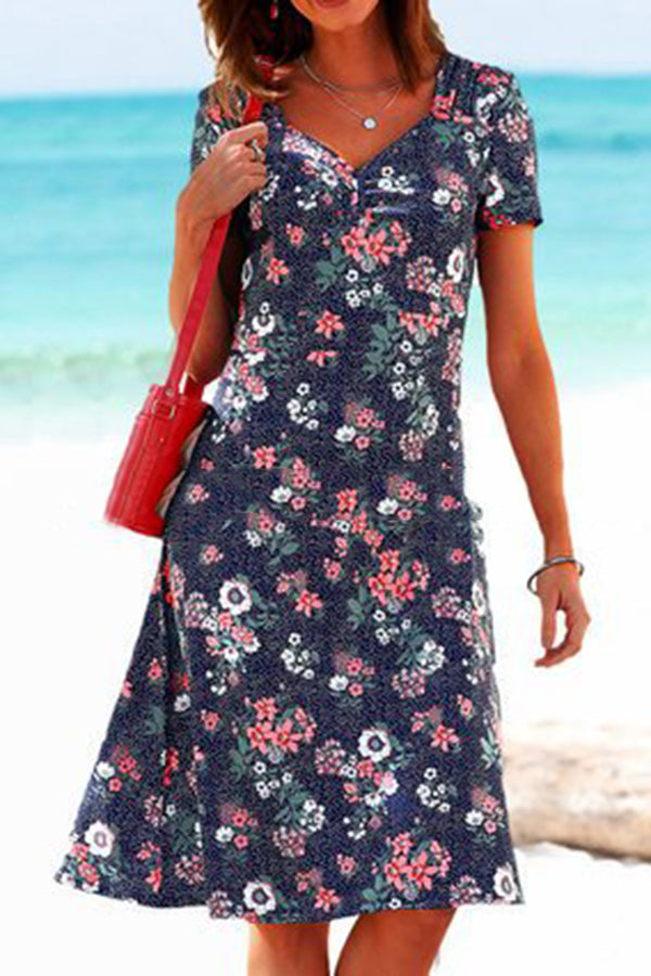 Floral Print V-neck Paneled Vintage A-line Midi Dress