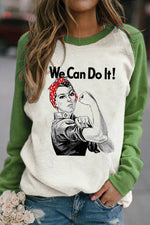Street We Can Do It Letter Rosie The Riveter Print Raglan Sleeves Color Block T-shirt