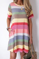 Colorful Striped Side Pockets Casual Mini Dress