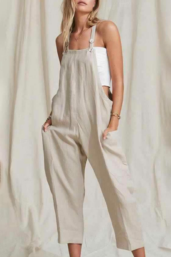 Paneled Solid Buttoned Side Pockets Casual Jumpsuit