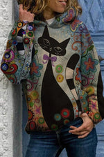 Vintage Gradient Cartoon Black Cat Floral Jacquard Hoodie