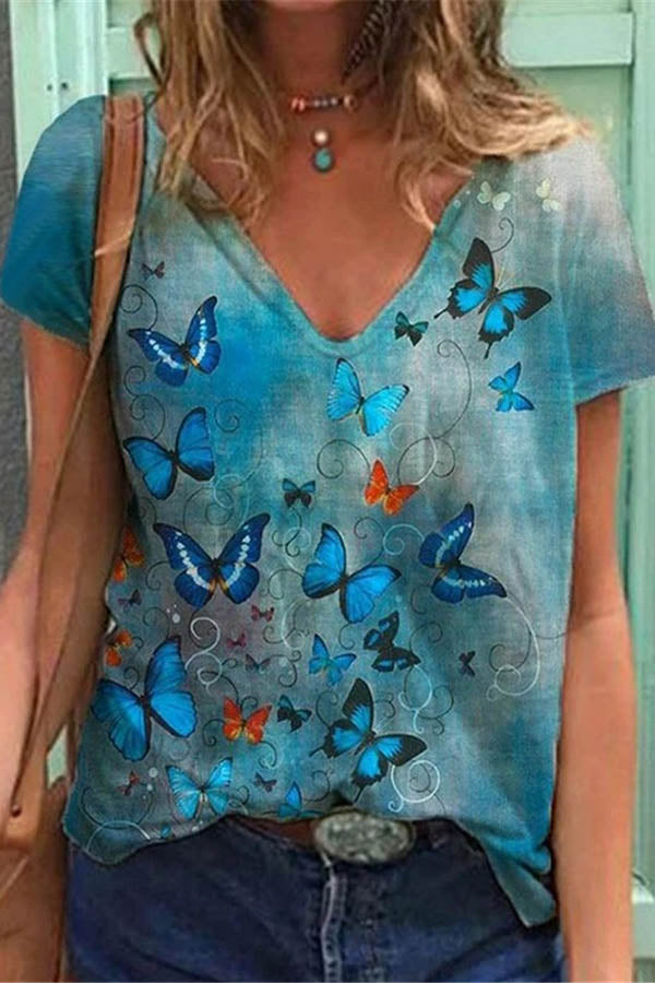 Literary Butterfly Gradient Print V Neck Shift Women T-shirt