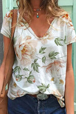 Casual Floral Print Paneled V-neck Short Sleeves T-shirt
