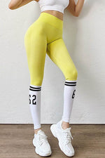 Color-block Sports Fashion Number Striped Print Butt Lifting High Waist Pleated Yoga Leggings
