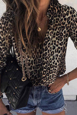 Leopard Print Long Sleeves Blouses