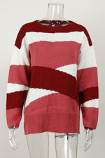 Casual Color-block Striped Jacquard Ribbed Knitted Sweater