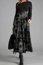 Casual Print Long Sleeves Maxi Dress