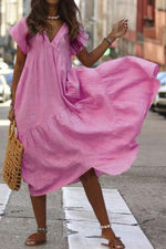 Solid Short Sleeves Loose Maxi Dress