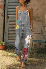Floral Print Denim Pockets Jumpsuit