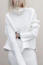 Solid Turtleneck Loose Long Sleeves Casual Sweater