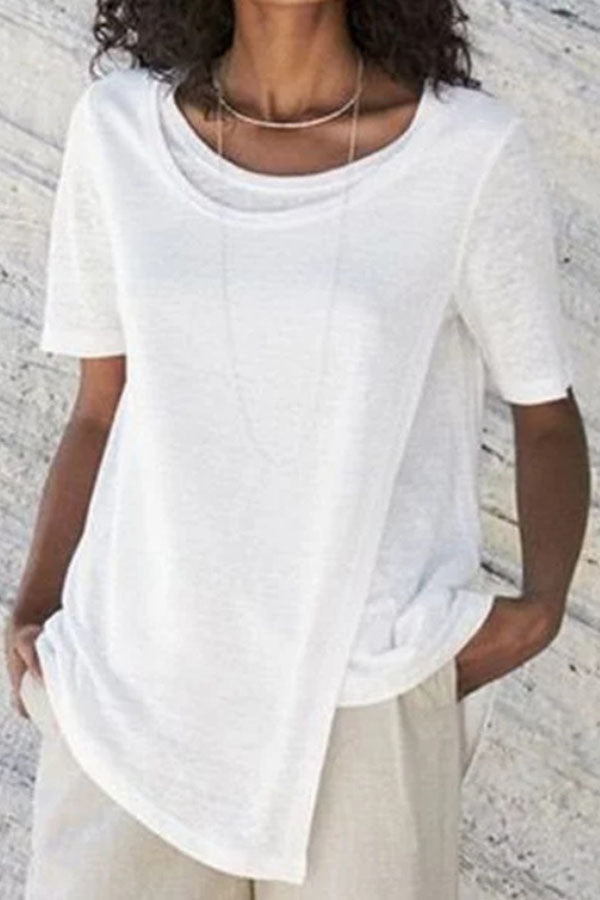 Casual Round Neck Solid Fake Tow Pieces T Shirt