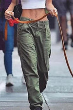 Casual Solid Pockets Cargo Pants