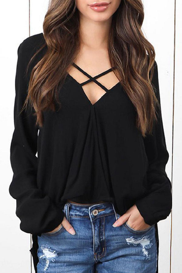 Casual Solid Cross  Loose T-shirt