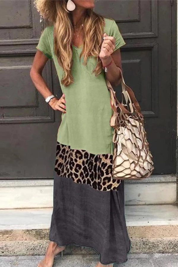 Casual Color Block Leopard Maxi Dress