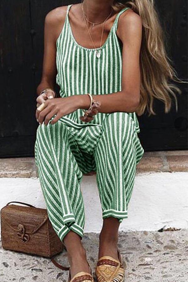 Casual Sleeveless Stripe Jumpsuit