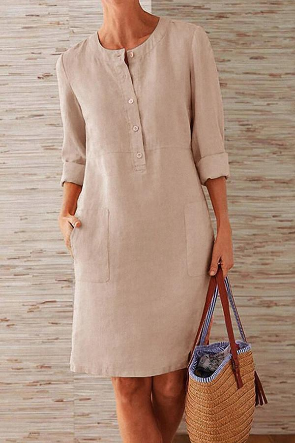 Pockets Front Long Sleeves Linen Midi Dress