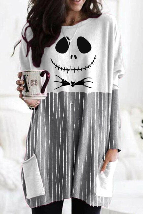 Halloween Ghost Face Striped Print Color-block Paneled T-shirt