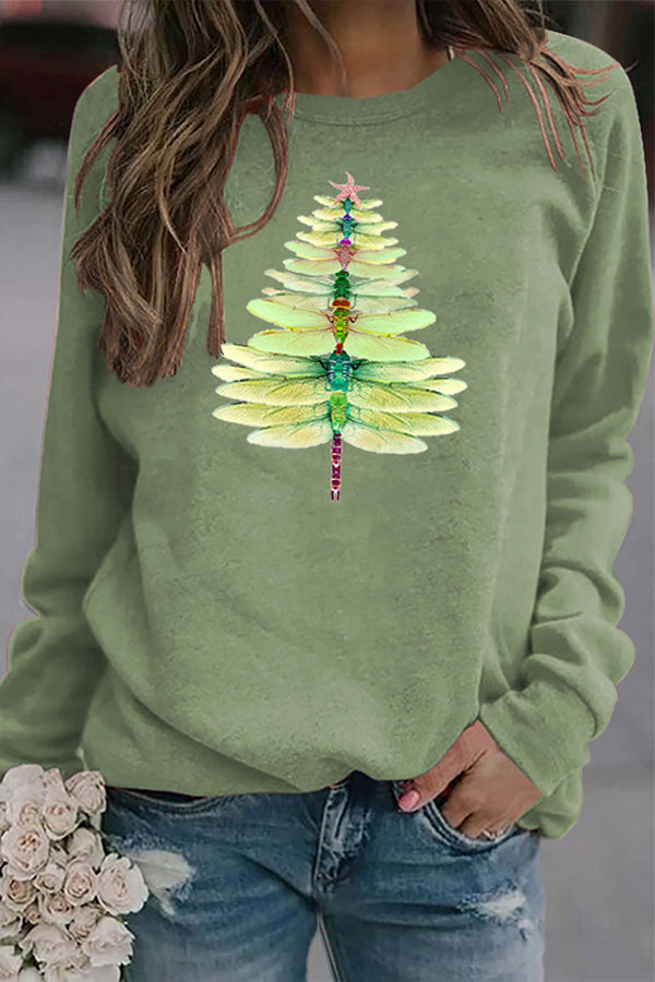 Casual Printed Gradient Dragonfly Made Christmas Tree Crew Neck T-shirt