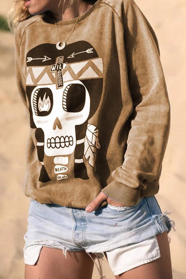 Taro Print Long Sleeves Pullover Sweatshirt
