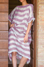 Stripe Casual Loose 3/4 Sleeves  Maxi Dress