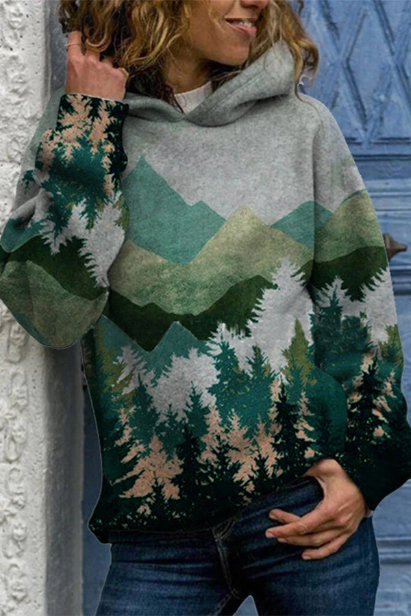 Nature Landscape Color-block Mountain Forest Treetop Jacquard Daytime Hoodie