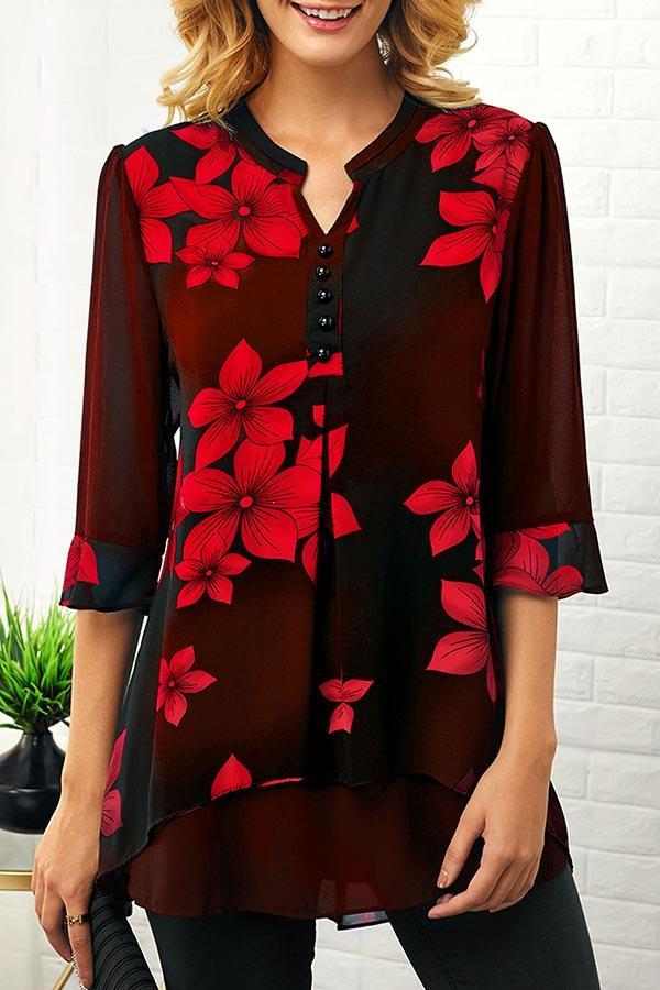 Floral Printed Button Trim Pullover Blouse
