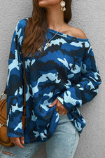 Camouflage One Shoulder Casual Knitted T-shirt