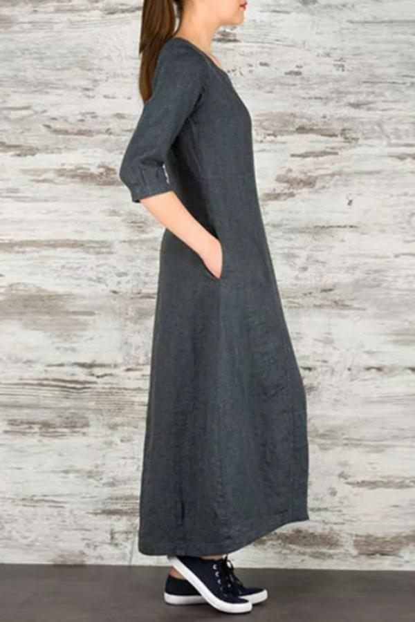 Linen Side Pockets 3/4 Length Sleeves Maxi Dress