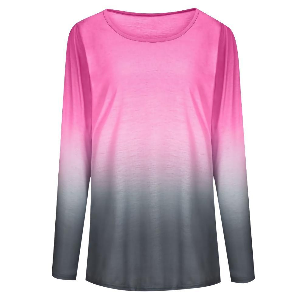 Gradient Round Neck Long Sleeve T-shirt