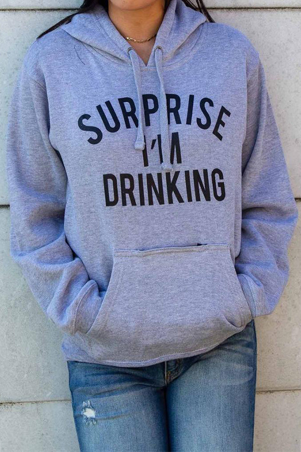 Surprise Im Drinking Letter Print Sports Casual Front Multifunctional Pocket Women Hoodie
