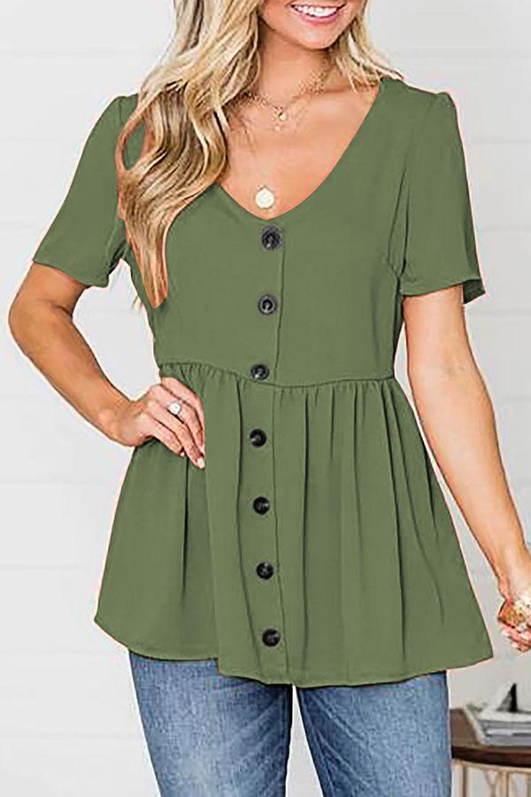 Solid V-neck Paneled Button Pleated Casual T-shirt