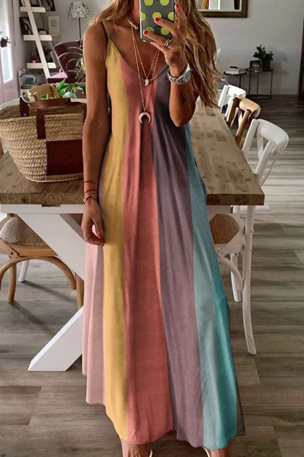 Colorblock Casual Sling V Neck Maxi Dress