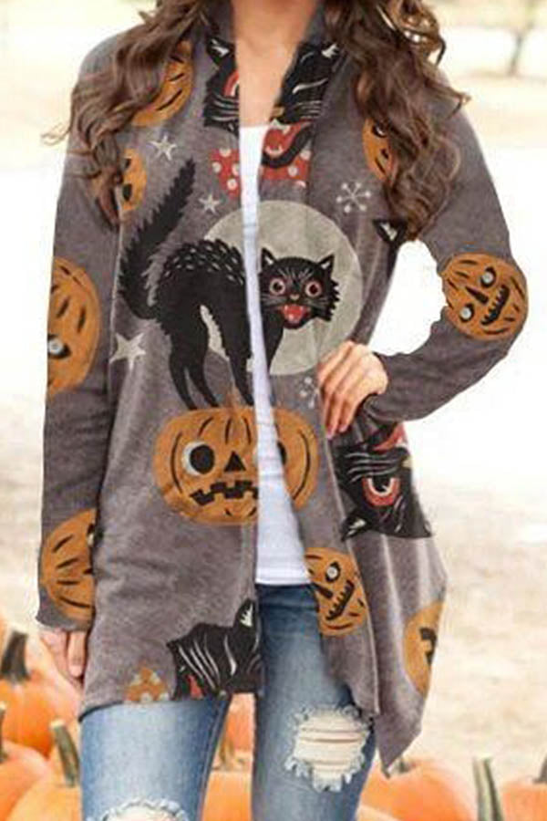 Halloween Black Cat Pumpkin Skull Bat Jacquard Open Front Outerwear