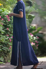 Vintage Casual V Neck Split Maxi Dress