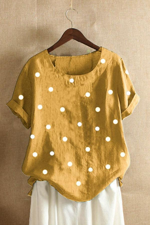 Casual Polka Dots Print Short Sleeves T-shirts