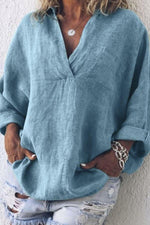 Linen V-neck Long Sleeves Casual Blouse