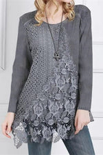 Solid Casual Lace Round T Shirt