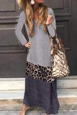 V Neck Leopard Paneled Casual Maxi Dress