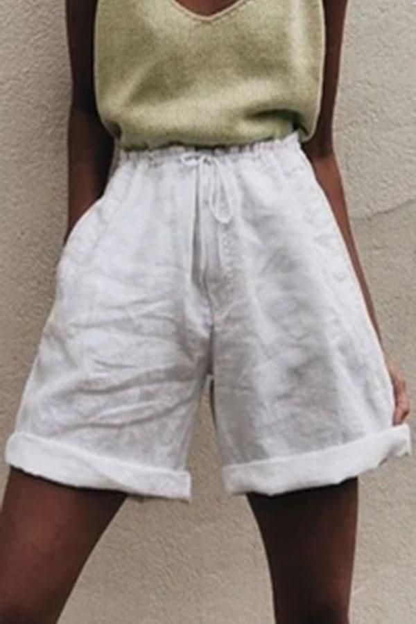 Casual Solid Self-tie Pockets Paneled Short Pants