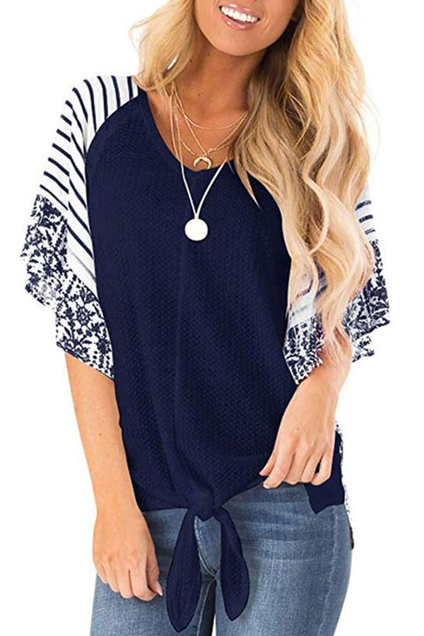 V Neck Stripe Paneled Casual T-shirts