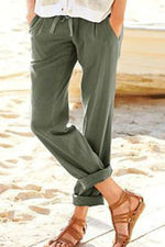 Solid Side Pockets Casual Self-tie Pants